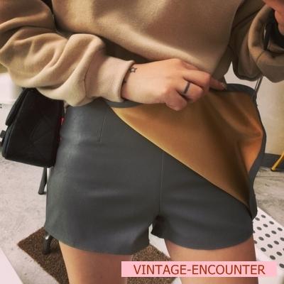 SHORT / TROUSERS  กางเกงเอวสูงผู้หญิงแฟชั่น กางเกงขาสั้นผู้หญิง กางเกงหนัง PU แนวเซ็กซี่ แฟชั่น เกาหลี ญี่ปุ่น