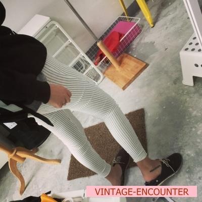 TROUSERS  กางเกงเอวสูงผู้หญิงแฟชั่น กางเกงทรงสกินนี่ ลายทาง กางเกงรุ่นคลาสสิก ทรงpencil pants แฟชั่น เกาหลี ญี่ปุ่น