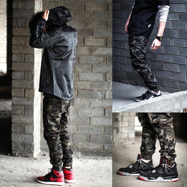 J*O*G*G*E*R   P@NTS กางเกงลายพราง ขาจั้ม กางเกงขายาวผู้ชายแฟชั่น camouflage  jogger  pants