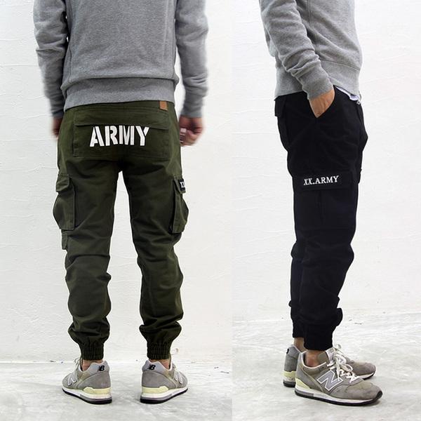 JOGGER  P@NTS  ARMY  LOGO  กางเกงทรงสลิมแฟชั่น กางเกงทรงทหารแฟชั่นผู้ชาย กางเกงสแล็ค ขาจั้ม กางเกงขายาวผู้ชายแฟชั่น