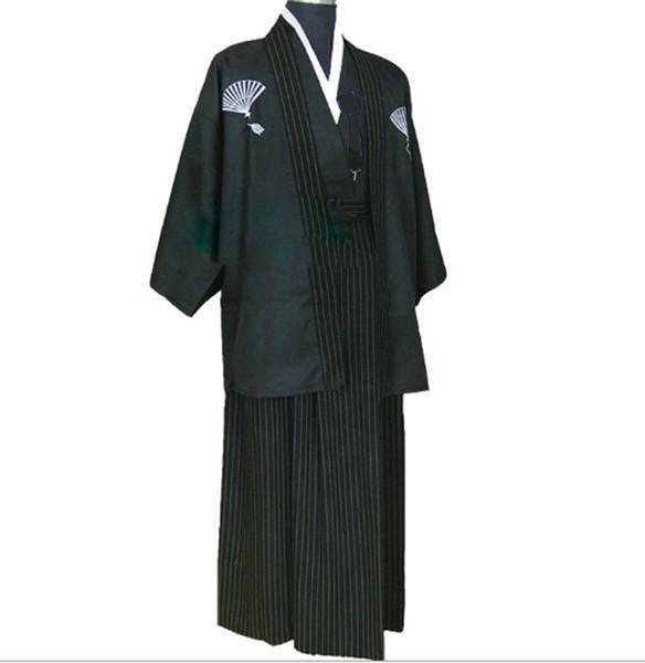 ++พร้อมส่ง++ชุดกิโมโนชายญี่ปุ่นสีดำ ชุดซามูไรญี่ปุ่น ชุดยูกาตะผู้ชาย