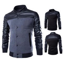 เสื้อผ้าผู้ชาย ราคาถูก เสื้อแจ็กเก็ตหนัง+ผ้า เท่ๆ  มี สีเทา สีดำ  มี ไซร์ M L XL XXL