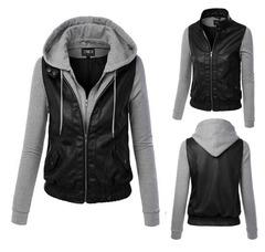 เสื้อผ้าผู้ชาย ราคาถูก เสื้อแจ็กเก็ตหนัง+ผ้า เท่ๆ  มี สีดำ  มี ไซร์ M L XL