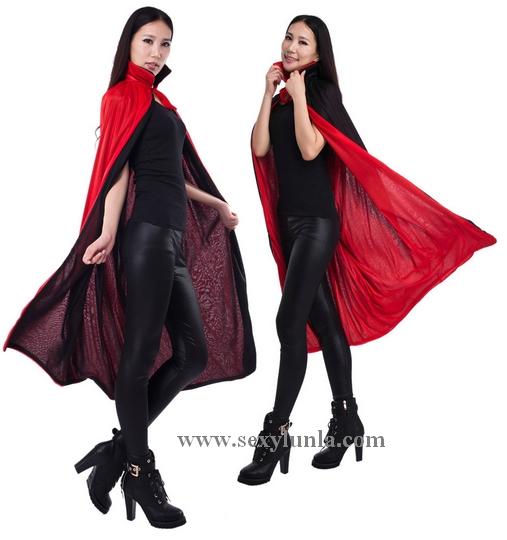 ++พร้อมส่ง++ชุดเสื้อคลุมแดรกคูร่าคอปกตั้ง ใส่สลับได้ทั้ง2สี สีแดงและดำ ชุดแวมไพร์ ชุดผีดูดเลือด  (ไม่มีตัวใน)
