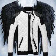 เสื้อผ้าผู้ชาย ผู้หญิง ราคาถูก เสื้อแจ็กเก็ตหนัง เท่ๆ  มี สีดำ สีขาว มี ไซร์ M L XL 2XL 3XL 4XL 5XL 6XL
