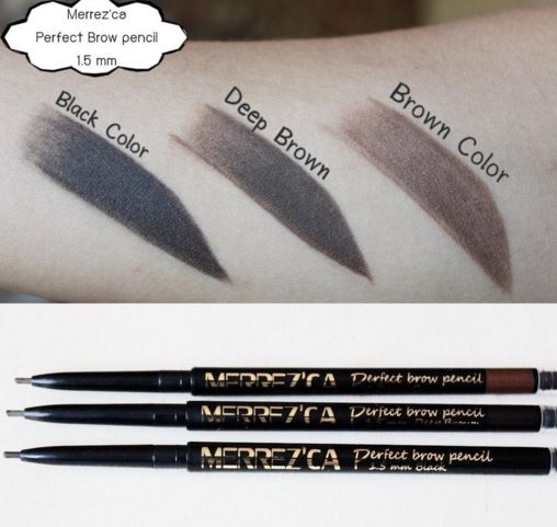 ** พร้อมส่ง**Merrezca Perfect Brow Pencil 1.5mm #Brown ดินสอเขียนคิ้วชนิดออโต้ ใช้งานง่ายโดยไม่ต้องเหลา ออกแบบคิ้วให้สวยได้รูปทรงด้วยหัวดินสอขนาดเล็กพิเศษเพียง 1.5 ม.ม.