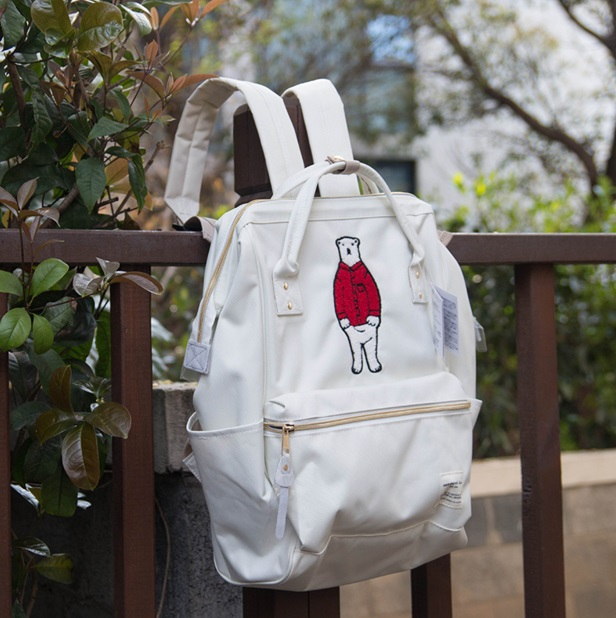 กระเป๋าเป้ญี่ปุ่น สะพาย - ถือ ยี่ห้อ Anello ไซส์ 28*42*13cm สี: น้ำเงิน/เทา/กากี/ขาวเสื้อแดง/ขาวเสื้อน้ำเงิน