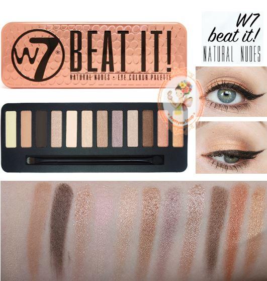 **พร้อมส่ง**W7 Beat It! Natural Nudes Eye Color Palette ปรบมือรัวๆ ให้กับพาเลทสีนี้เลยคะ สีสวยโทนนู้ดน้ำตาลทอง อายเชโดว์ 12 สีสวย มีเนื้อแมท 4 สี และเนื้อชิมเมอร์ประกายระยิบระยับ อีก 8 สี สีแต่งง่ายใช้ได้ทุกวัน ปรับแต่งอ่อนเข้มด้วยสีน้ำตาลเข้มตัดขอบตา หรื