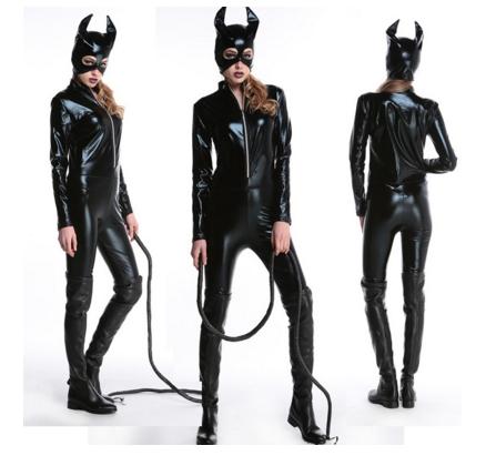 ++พร้อมส่ง++ชุดนางแมวชุดแคทวูแมนหนังรัดรูปสีดำ สวย sexy เทห์มาก สินค้ามาพร้อมชุด+หน้ากาก catwoman