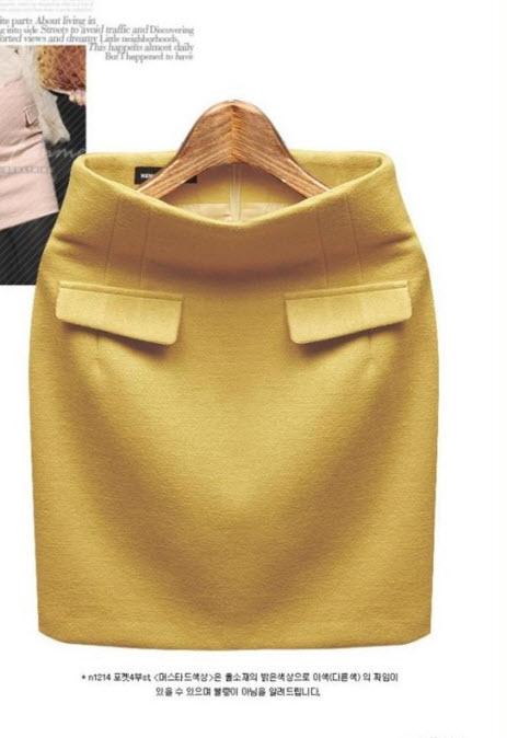 พรีออเดอร์ กระโปรงสั้น กระโปรงทำงาน สีพื้น แต่งกระเป๋าหลอกด้านหน้า แต่งซิปหลัง สี ดำ แดง เหลือง