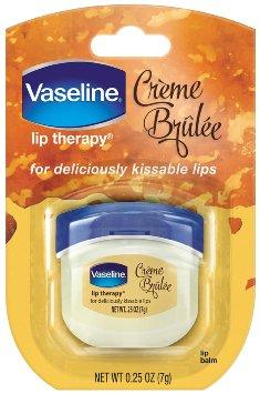 Vaseline Lip Therapy for Deliciously Kissable Lips Creme Brulee ขนาดพกพา 7 g. ลิปบาล์มวาสลีนไซส์มินิ กลิ่นหอมหวานดุจขนมแสนอร่อย บำรุงเรียวปากให้เนียนนุ่มชุ่มชื่นอวบอิ่มสุขภาพดี