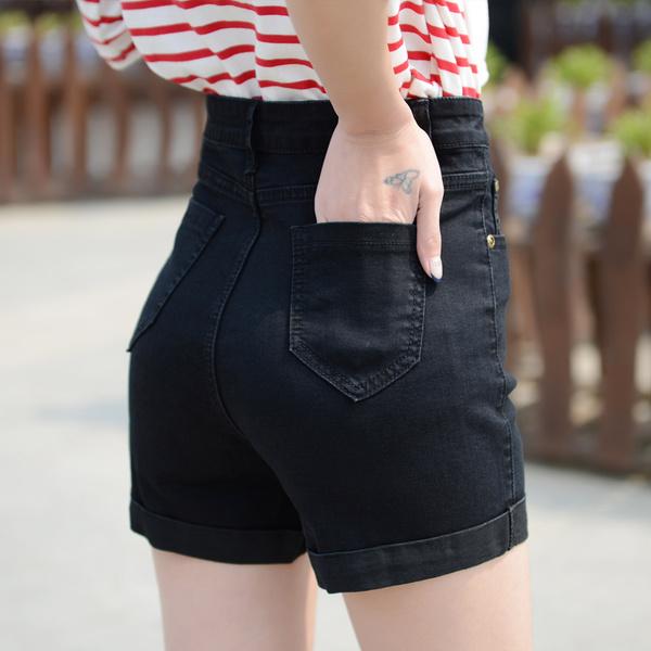 เสื้อผ้าผู้หญิง ราคาถูก กางเกงยีนส์ขาสั้น ผ้ายีนส์ มี สีดำ สีน้ำเงิน มี ไซร์ 25-40