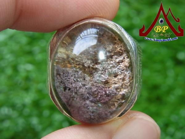 แหวนเงิน แก้วปวก (ตัวเรือนเงินแท้ 92.5%) เบอร์ 65