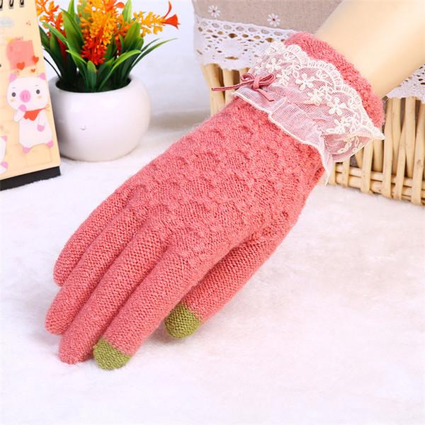ถงมือกันหนาว ถุงมือแฟชั่น (พร้อมส่งสีชมพู)