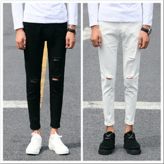 กางเกงผู้ชาย ราคาถูก กางเกงยีนส์ มี สีขาว สีดำ มี ไซร์ 26-36