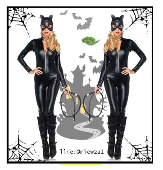 ++พร้อมส่ง++ชุดนางแมวหนังรัดรูปสีดำ สวย Cat woman แคทวูแมน sexy เทห์มาก สินค้ามาพร้อมชุด+หน้ากาก Catwoman