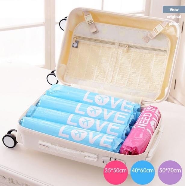 Travel pouch vacuum ถุงซิปล็อคสุญญากาศ (1แพค/2ใบ) มี 3ขนาด แบบไล่อากาศด้วยมือ ประหยัดพื้นที่กระเป๋าเดินทาง