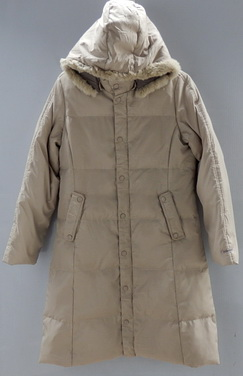 รอบอก 40  เสื้อกันหนาว แฟชั่น เสื้อแจ๊คเก็ต เสื้อโค้ทยาว บุขนเป็ดสีกากี หมวกฮู้ดถอดได้ มีกระเป๋า