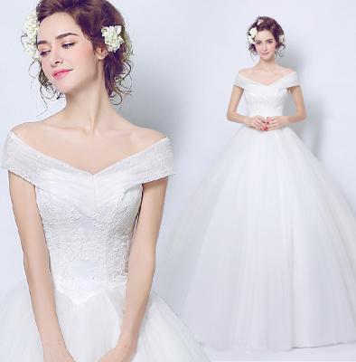เสื้อผ้าผู้หญิง ชุดแต่งงานสีขาวเปิดไหล่ตามรูป