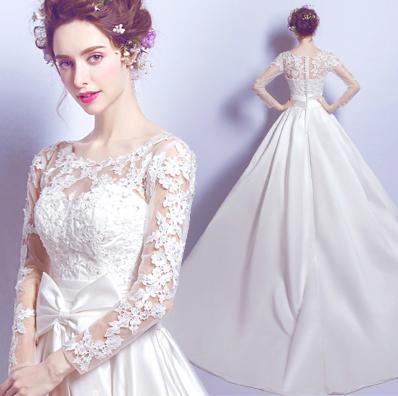 เสื้อผ้าผู้หญิง ชุดแต่งงานลูกไม้แขนยาวสีขาวตามรูป
