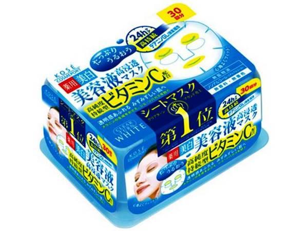 Kose Clear Turn vitamin C  Essence  Mask  แผ่นมาส์คหน้า โคเซ่่ (กล่องสีฟ้าวิตซี)30 แผ่น นำเข้าจากประเทศญี่ปุ่น