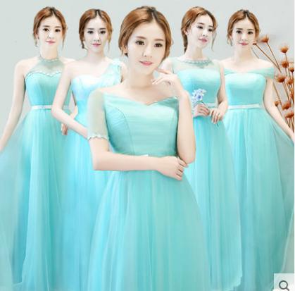 เสื้อผ้าผู้หญิง ชุดราตรียาว ชุดธีมเพื่อนเจ้าสาวสีฟ้าทะเล ธีมเก้าแบบ