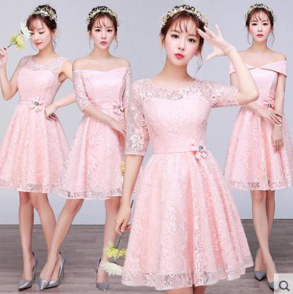 เสื้อผ้าผู้หญิง ชุดราตรีสั้น ชุดธีมเพื่อนเจ้าสาวสีชมพู ธีมสี่แบบ