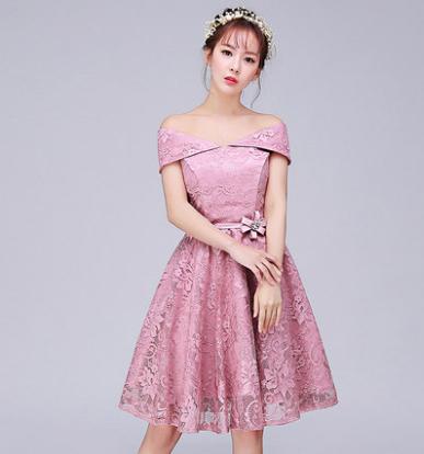 เสื้อผ้าผู้หญิง ชุดราตรีสั้น ชุดธีมเพื่อนเจ้าสาวสีชมพูถั่วแดง ธีมสี่แบบ