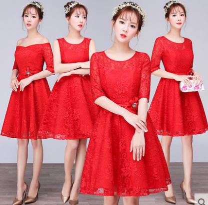 เสื้อผ้าผู้หญิง ชุดราตรีสั้น ชุดธีมเพื่อนเจ้าสาวสีแดง ธีมสี่แบบ