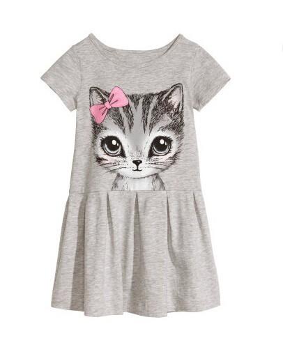 (หมด) เดรสผ้ายืด สีเทา ลายแมว size 100