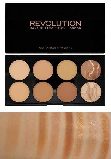 Makeup Revolution MUR Ultra blush # All About Bronze ปัดแก้มสีน้ำตาลบรอนเซอร์ และไฮไลท์ในตลับเดียว เฉดสีออกใหม่..เอาไว้ทำเฉดดิ้ง คอนทัวร์ให้ใบหน้าเรียวขึ้น ปกปิดจุดบกพร่องบนใบหน้า หรือเอามาไล้ดั้งก็ได้ เป็นแบบเนื้อฝุ่นแมท 6 สีไล่โทน ให้เลือกใช้ได้หลายโอกา