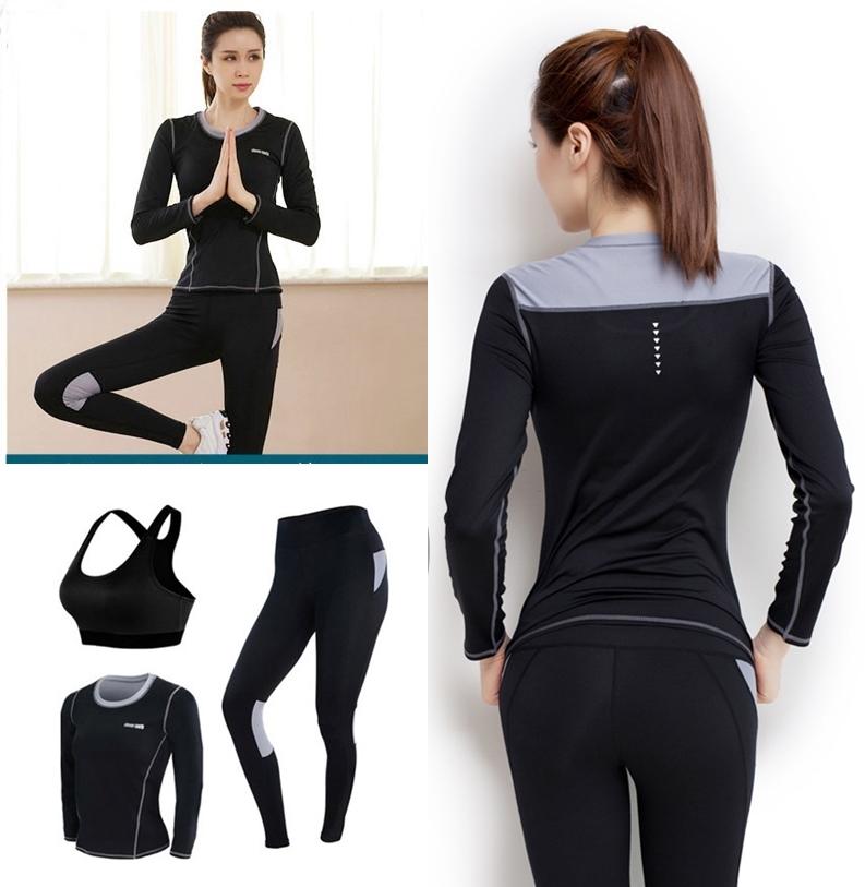 **3 ชิ้นsize L สีดำเทา ชุดออกกำลังกาย/โยคะ/ฟิตเนส เสื้อแขนยาว+บรา+กางเกงขายาว