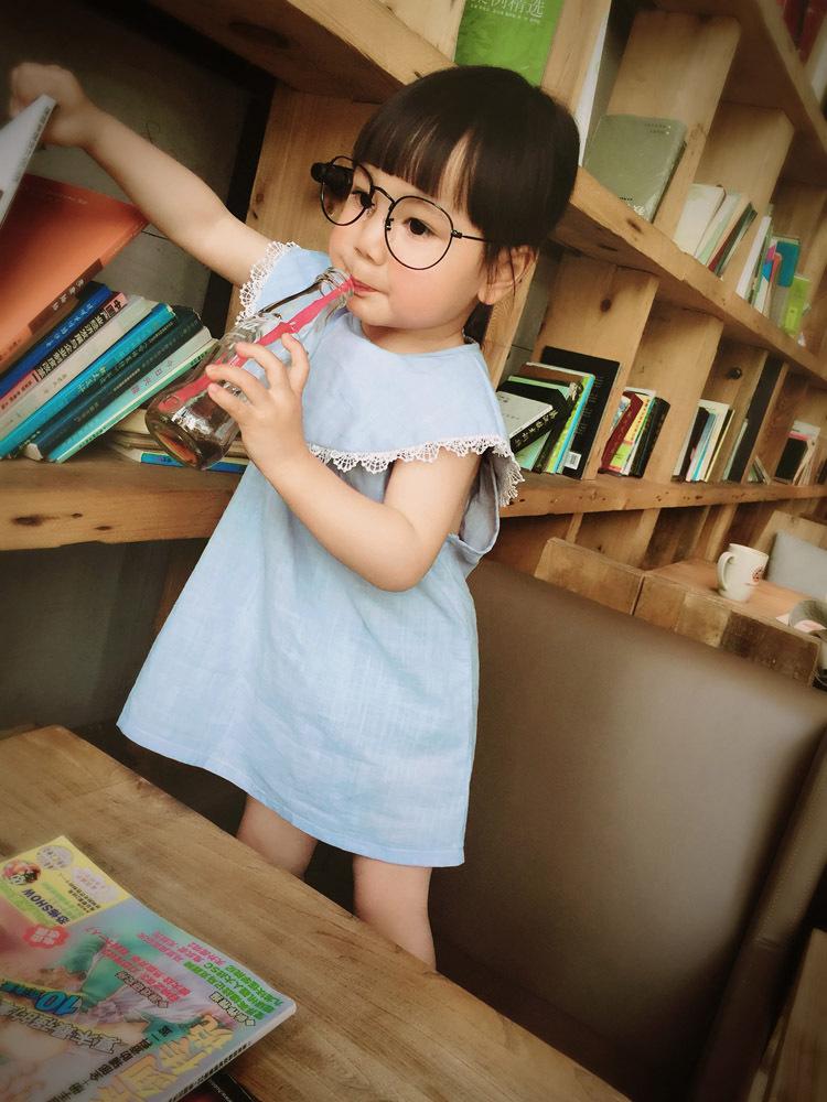เดรสสไตล์เกาหลี สีฟ้า size 110