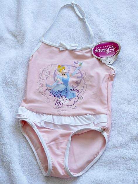 (หมด) ชุดว่ายน้ำ ดิสนีย์ ลายเจ้าหญิง ซินเดอเรลล่า สีชมพู size 2-3 ขวบ