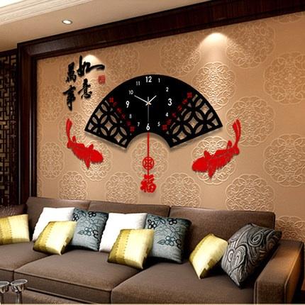 นาฬิกาติดผนังสไตล์โมเดิร์น เก๋ๆสวยๆ รูปทรงใบพัดจีนพร้อมคำมงคล ตัวล่างขยับได้คะ