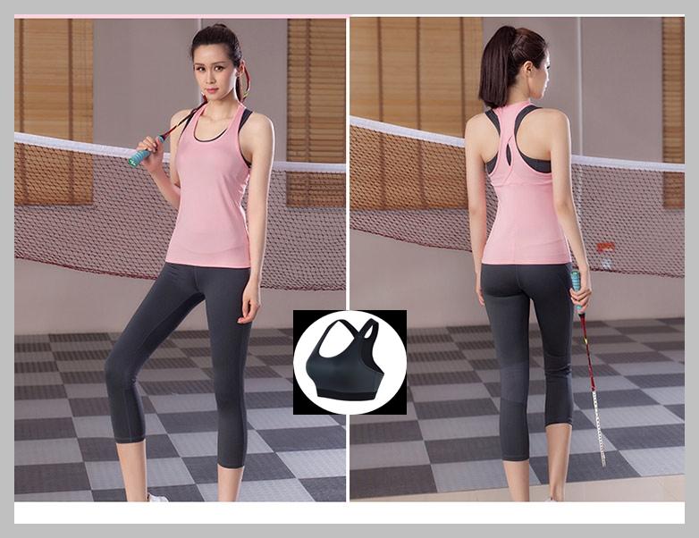 **พร้อมส่ง size XL สีชมพู ชุดออกกำลังกาย/โยคะ/ฟิตเนส เสื้อกล้าม+บรา+กางเกงขาห้าส่วน