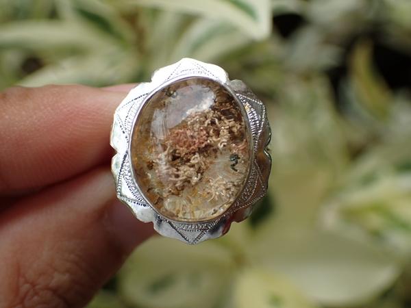 แหวนเงิน แก้วปวก (ตัวเรือนเงินแท้ 92.5%) เบอร์ 58
