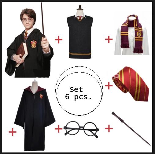 ++พร้อมส่ง++Set 6ชิ้น ชุดแฮรี่พอตเตอร์+แว่นตา+เนคไท+ไม้กายสิทธิ์+ผ้าพันคอ+เสื้อกั๊ก