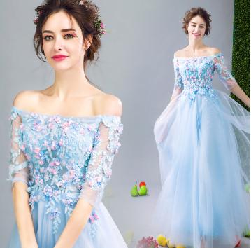 เสื้อผ้าผู้หญิง ชุดราตรีปาดไหล่สีฟ้าตามรูป