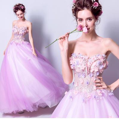 เสื้อผ้าผู้หญิง ชุดราตรี ชุดแฟนซีสีชมพูตามรูป