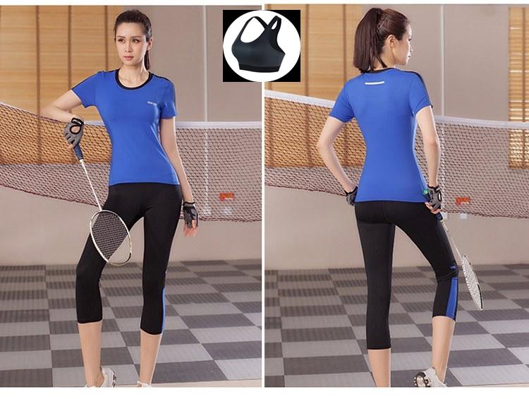 **พร้อมส่ง size L  สีน้ำเงิน ชุดออกกำลังกาย/โยคะ/ฟิตเนส เสื้อแขนสั้น+บรา+กางเกงห้าส่วน