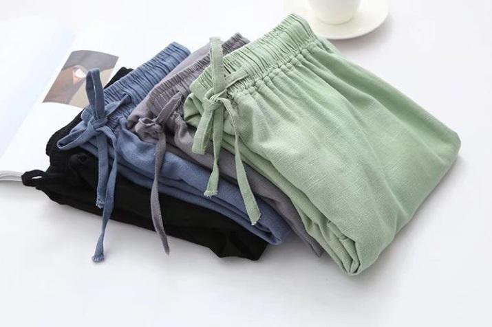 กางเกงเอวสูง ขากว้าง ไซส์: M/L สี: เทา/ดำ/เขียว/ฟ้า