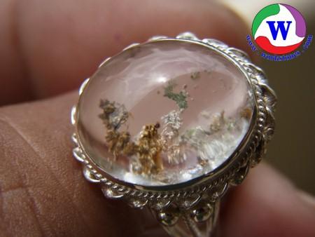 แหวนเงินหญิง แก้วปวก 3 สีมังคละรูปพญานาคราช
