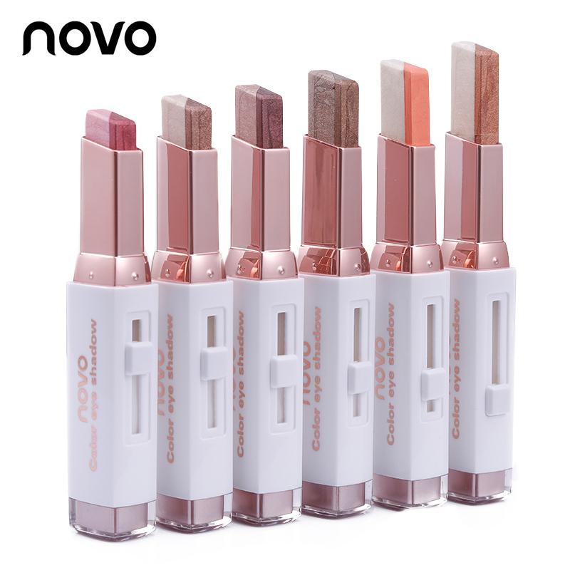 Novo 2Tone eyeshadow โนโว ทูโทนอายแชโดว์ อายแชโดว์แบบแท่ง 2 สีในแท่งเดียว เนื้อเนียนละเอียด สีสวยติดทนนาน