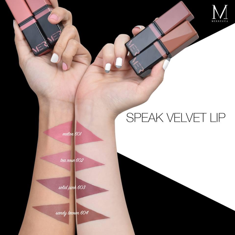 **พร้อมส่ง**Merrezca Speak Velvet Lip ลิปเนื้อเป็นครีมทาชั้นเดียวบางๆก็เปลี่ยนสีปากของคุณให้เรียบเนียนสนิท คอลเลกชั่นนี้เป็นลิปสติกเนื้อครีมฉ่ำๆ เนื้อชุ่มชื้นไม่เป็นขุย สีสวยเด่นชัดติดทน สามารถใช้ได้ทุกโอกาส หลากเฉดสี หลายอารมณ์ให้คุณเลือกเติมแต่ง ลิปเนื้