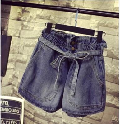กางเกงขาสั้น ผ้ายีนส์ เอวยางยืด มีสี ฟ้า มีไซส์ XL/2XL/3XL/4XL