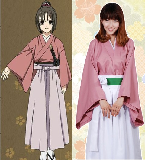 ++พร้อมส่ง++ชุดกิโมโนญี่ปุ่นสีชมพู  ชุดchizuru yukimura cosplay จากอนิเมะ hakuouki reimeiroku
