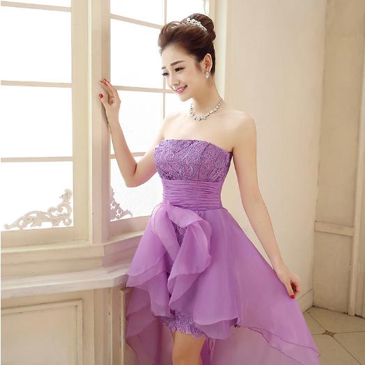 เสื้อผ้าแฟชั่นผู้หญิง ชุดราตรีสั้นระบายยาวหลัง สีม่วงตามรูป