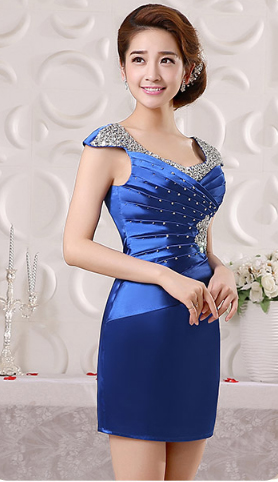 เสื้อผ้าแฟชั่นผู้หญิง ชุดราตรีสั้น สีน้ำเงินตามรูป