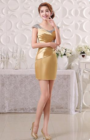 เสื้อผ้าแฟชั่นผู้หญิง ชุดราตรีสั้น สีglodenตามรูป